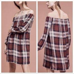 Anthro Cloth & Stone Red Plaid Off Shoulder Dress